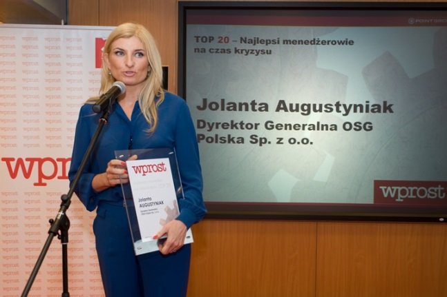 Jolanta Augustyniak, Director General OSG Poland, Best Manager in times of crisis