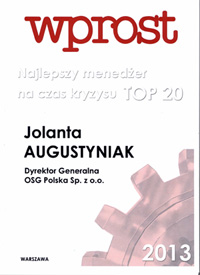 Jolanta Augustyniak, Direcotor General OSG Records Management in Central and Eastern Europe has been recognised by Wprost